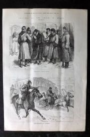 ILN 1880 Antique Print. Prisoners & Police Espionage in St. Petersburg, Russia